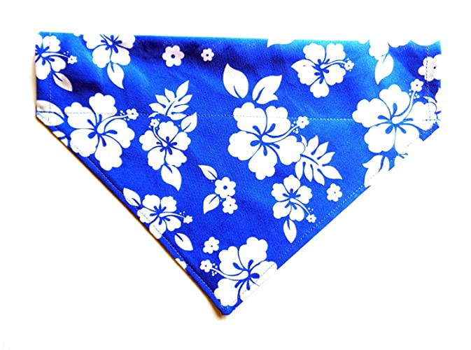 Amazoncom Large Blue Hawaiian Print In White Hibiscus Flowers