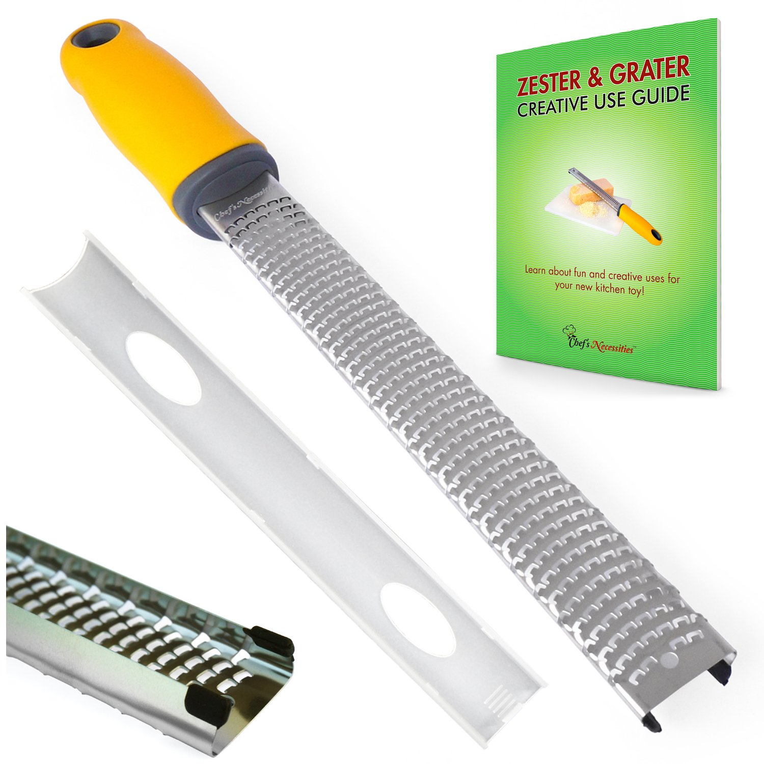 Chef's Necessities Cheese Grater & Zester - High Quality Stainless Steel Blade + Protective Cover Chef's Necessities TM