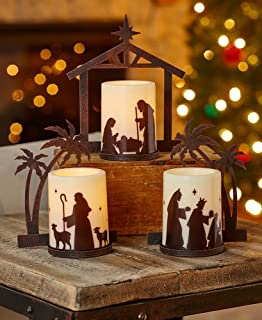 the lakeside collection nativity candleholders with led candles