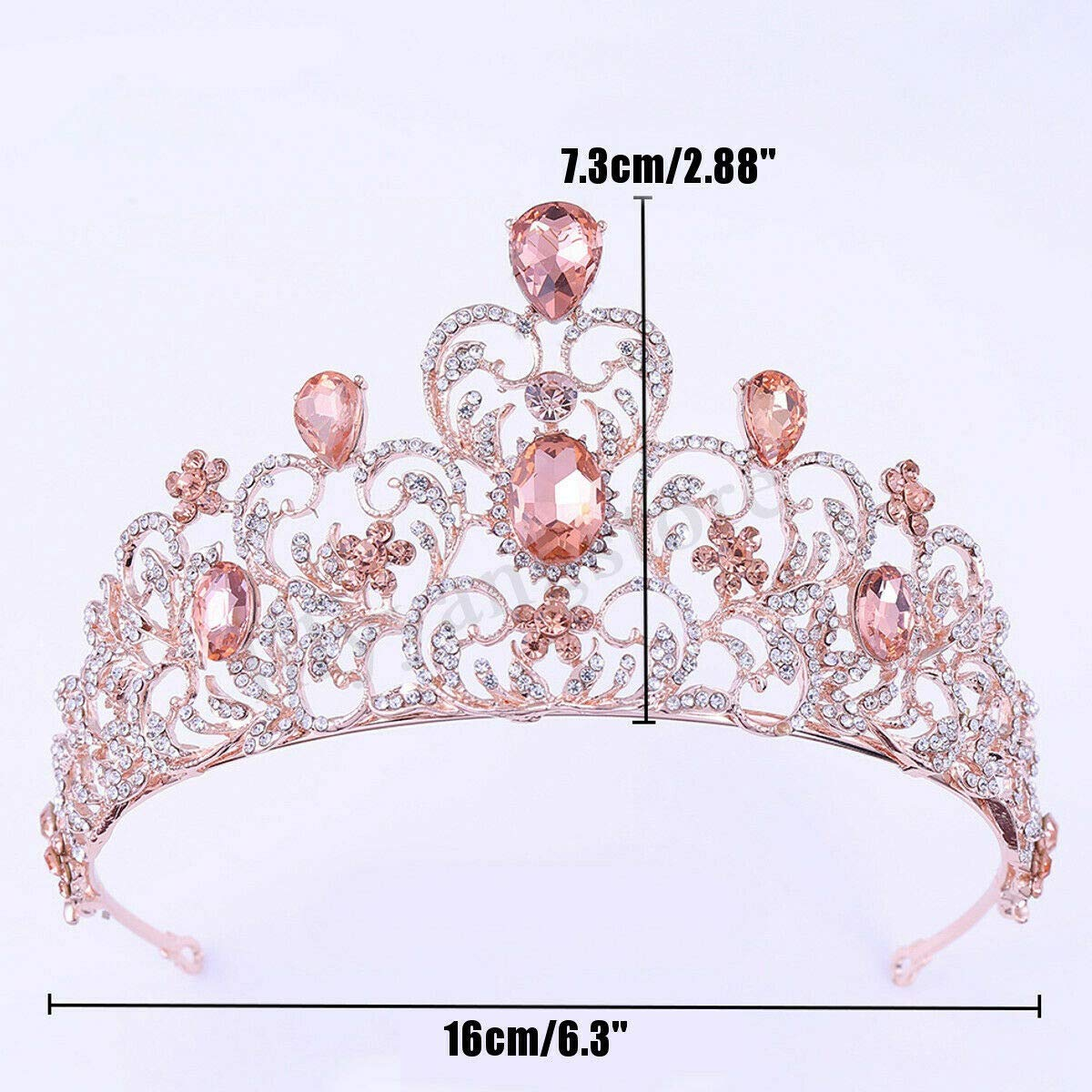 CUHAWUDBA 7.3Cm High Pink Rose Gold Heart Crystal Tiara Wedding Party Prom Pageant