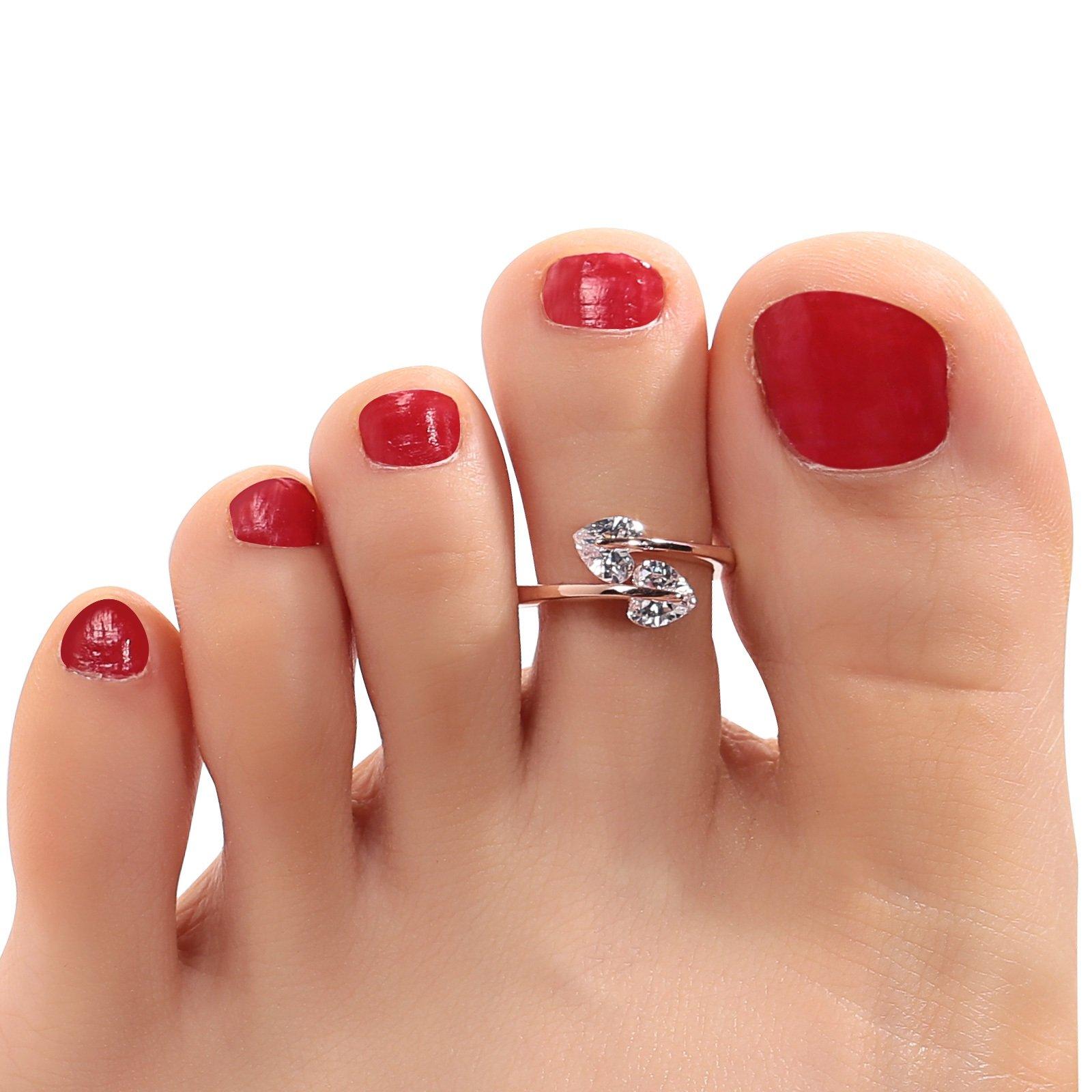 Aokarry 925 Sterling Silver Toe Rings For Women Girls Heart Cubic Zirconia Bypass Open Rose Gold