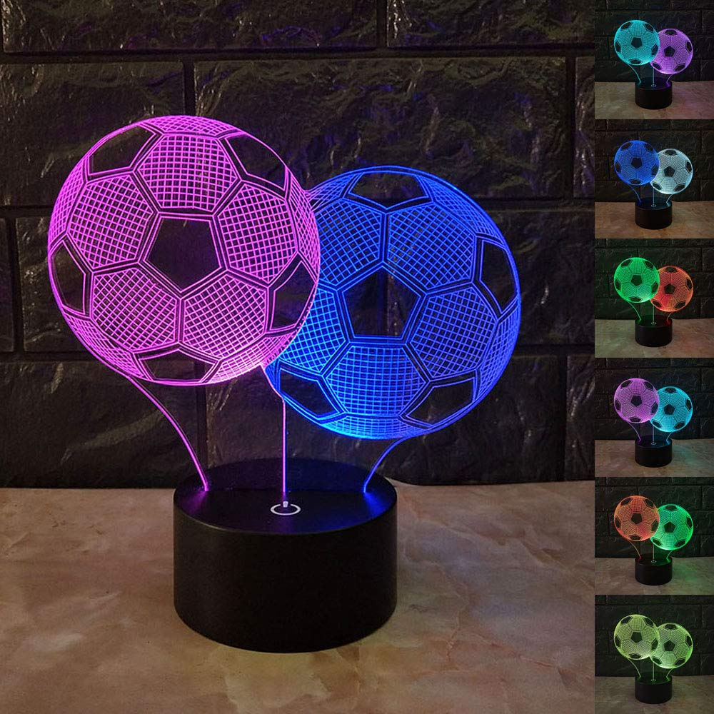 SZLTZK Christmas Gift Dual Color 3D LED 2 Soccer Ball Night Light 7 Color Touch Switch with Battery Compartment USB Cable Table Desk Baby Nursery Lamp Home Decor Birthday Present for Kids Boy Girl