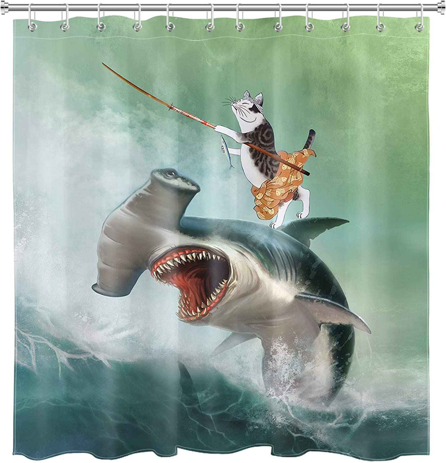 LB Funny Cat Shower Curtain Set Hippie Cat Riding Weird Shark Fishing on Ocean Wave Shower Curtains for Bathroom Decoration with Hooks 72x72 inch Waterproof Polyester Fabric