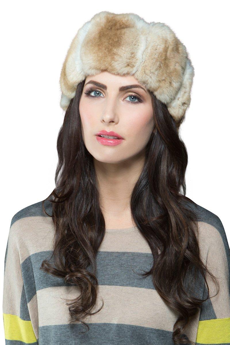 EM-EL Women's Dyed Beige/Gold Chinchilla Fur Headband by EM-EL