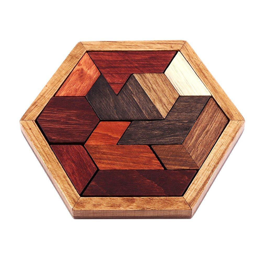 1 Set juego creativo Rompecabezas de los niños hexagonal de madera Montado Jigsaw Inteligencia de juguetes educativos