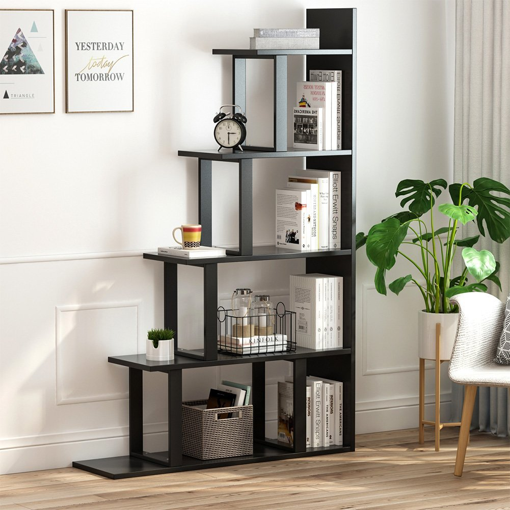 Tribesigns 5-Shelf Ladder Corner Bookshelf, Modern Simplism Style 63 '' H x 12 '' W x 40 ''L, Made of Steel and Wood, for Living Room or Hallway (Black.)