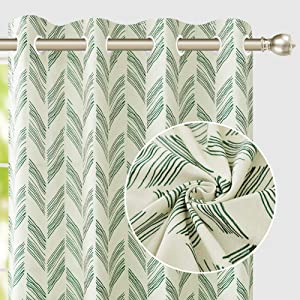 Naturoom Blackish Green Curtains 84 Inches Long With Line Pattern Thermal Insulated Drapes for Living Room and Bedroom, Ultra Thick and Durable Reversible Patio Curtain Blackish Green 52 inch 2 Panels