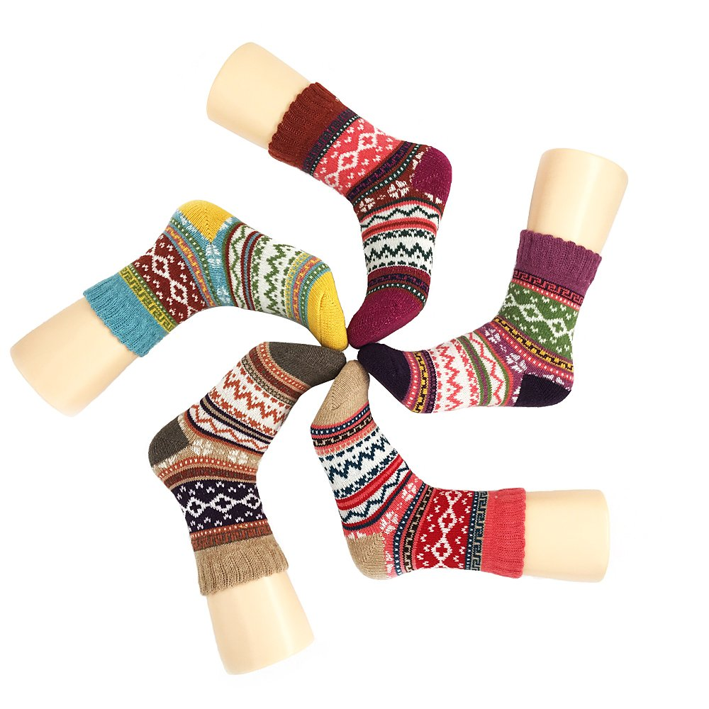 Women's 5-pack Thick Soft Cotton Knitting Wool Warm Winter Fall Crew Socks