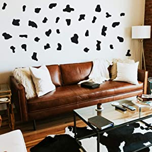 """Set of 34 Vinyl Wall Art Decal - Cow Pattern - from 2"""" x 2"""" Each - Cows Spots Adhesive Stickers Animal Design for Girls Bedroom Home Office Living Room Classroom Apartment Decor (Black)"""