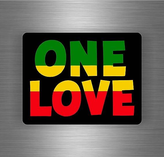 Akachafactory Selbstklebend Sticker Auto Rasta Reggae One Love Löwe Jamaikanische Flagge Ref14 Motorrad
