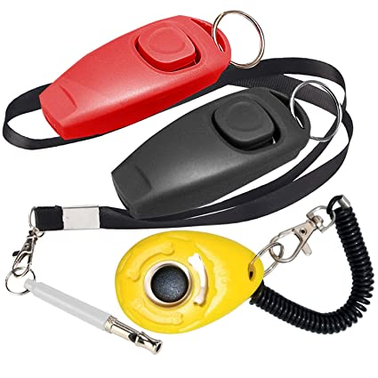 OUOU 2 Pack 2 in 1 Dog Whistle with Wrist Strap,1 Pack Dog Training Clickers with Wrist Strap and 1 Pack Adjustable Frequency Ultrasonic Sound ...