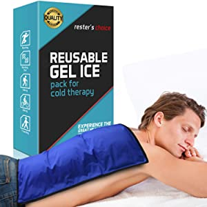 "Cold Therapy Gel Pack – Large 13x21.5"" Ice Pack for Back, Knee, Legs, and Shoulders – Cold Ice Gel Pack Reduces Pain and Swelling from Injury and Surgery – Blue Cold Compress Pack by Rester's Choice"