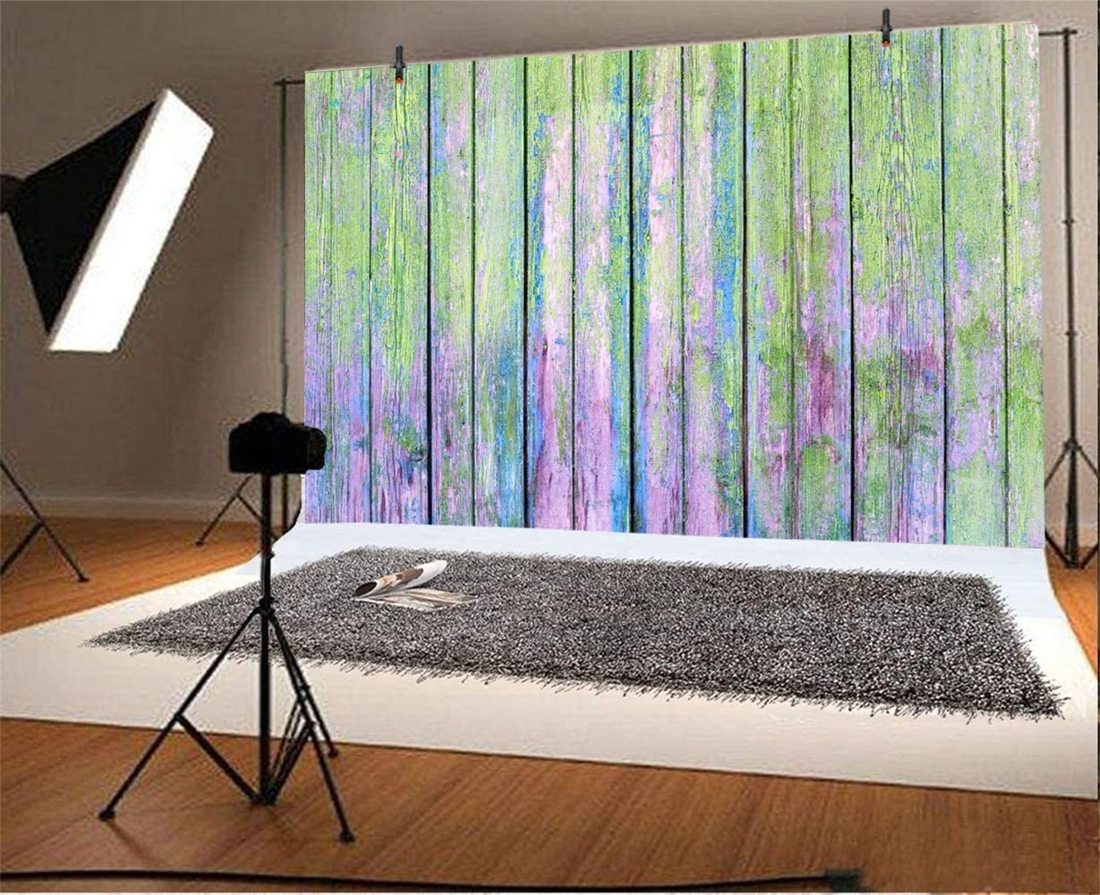 Weathered Painted Wood Plank Backdrops 10x6.5ft Polyester Faded Old Grunge Wooden Wall Photography Backdrop Rustic Mossy Vertical Striped Wood Board Background Personal Photo Studio Props