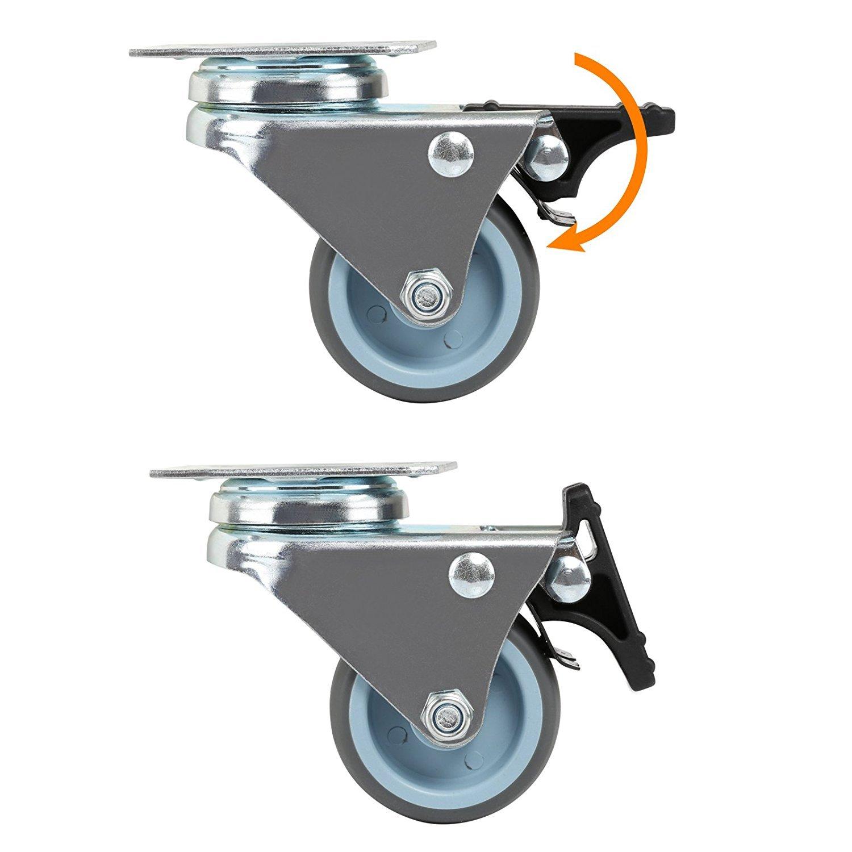 2 brakes Hausee 4 x Casters 50mm TPR Swivel Castor Wheels Trolley Furniture Caster Heavy Duty 600kg