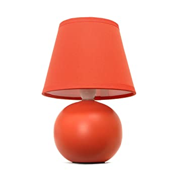 Superb Simple Designs LT2008 ORG Mini Ceramic Globe Table Lamp, Orange