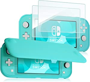 ProCase Nintendo Switch Lite Flip Cover with 2 Pack Tempered Glass Screen Protectors, Slim Protective Flip Case with Magnetically Detachable Front Cover for Nintendo Switch Lite 2019 -Turquoise