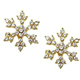 Sparkling Crystal Snowflake Stud Earrings Christmas Winter Bridal Fashion Jewelry