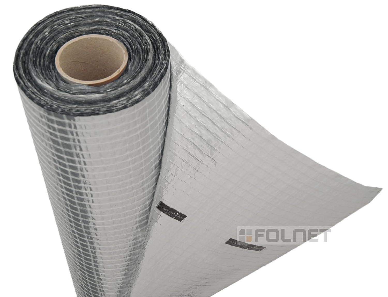 Membrana de aluminio impermeable de aislamiento té rmico y con barrera de vapor, apto para el uso en paredes, suelos y techos, 110 g/m² , un solo rollo de 1,5 m x 50 m (75 m² ) 110 g/m² 5mx50m (75 m²) Strotex