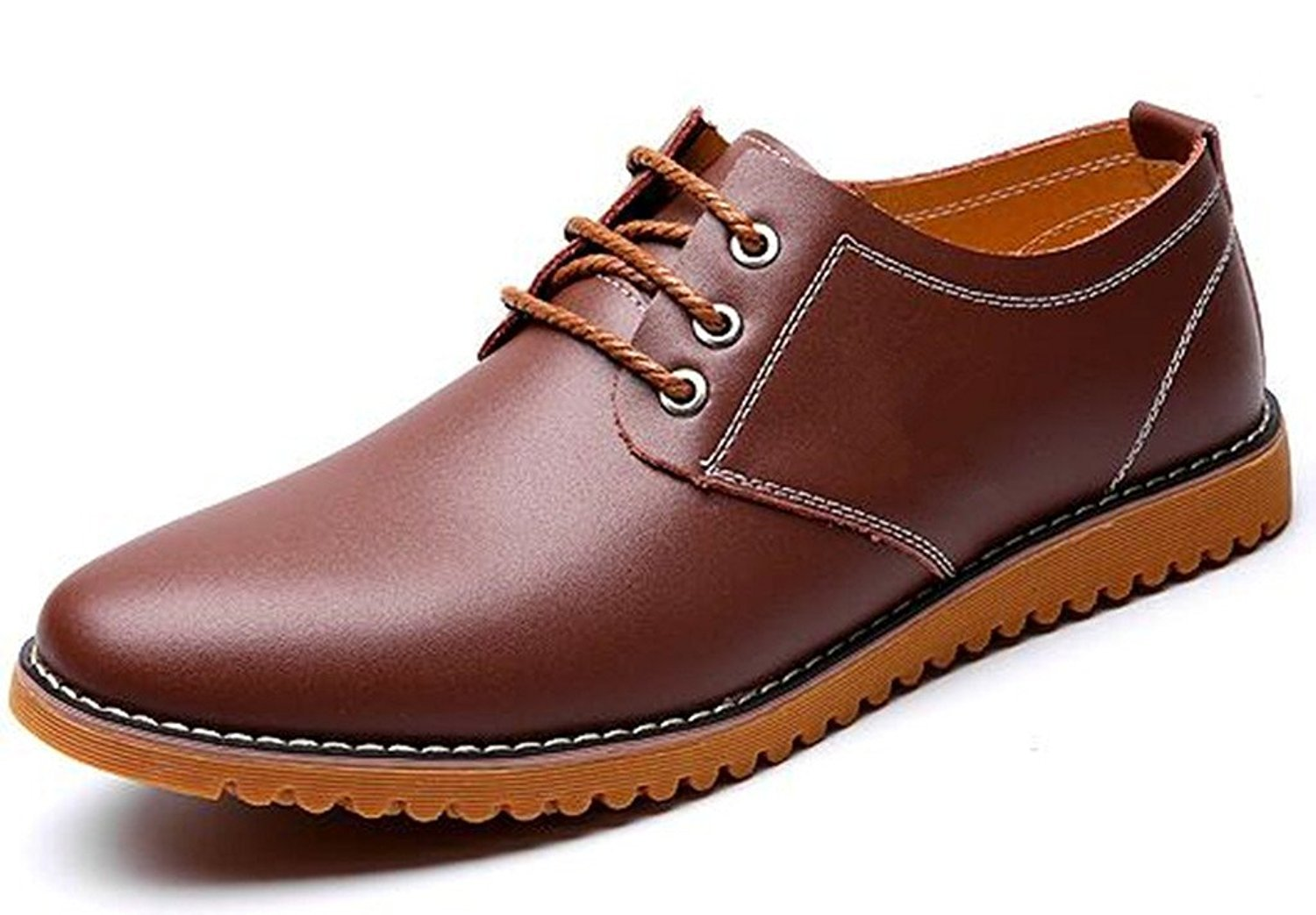 DADAWEN Men's Classic Modern Lace Up Leather Oxford Dress Shoes Brown US Size 8
