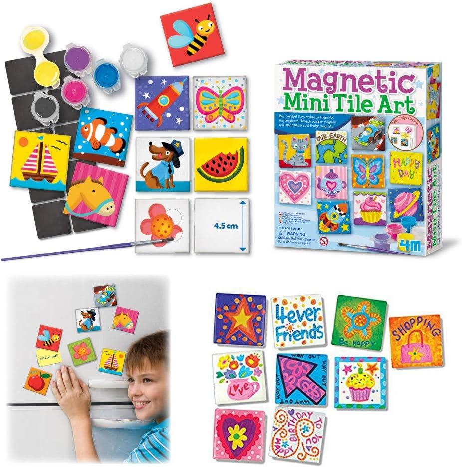 Fridge Craft Project Gifts for Boys /& Girls Locker Party Favors 4M 4563 Magnetic Mini Tile Art DIY Paint Arts /& Crafts Magnet Kit For Kids