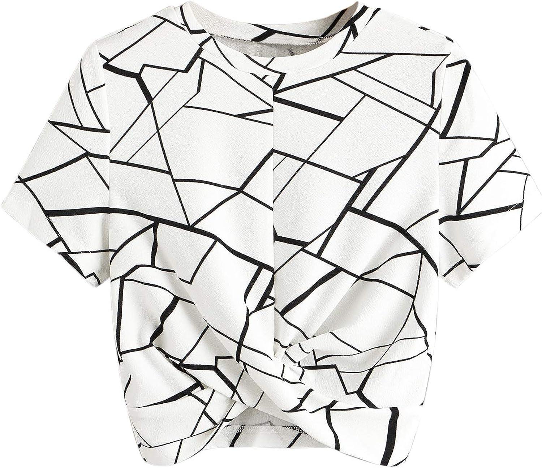 SweatyRocks Women's Twist Front Cut Out Short Sleeve Crop Top T-Shirt