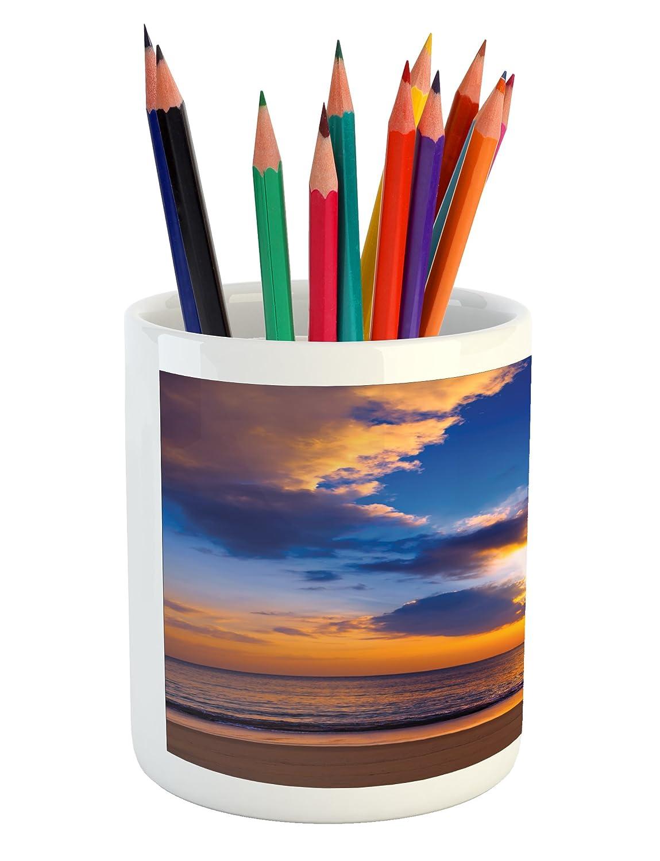 Lunarable coastal pencil pen holder colorful sunset reflection over ocean in the evening horizon romantic scene image printed ceramic pencil pen holder