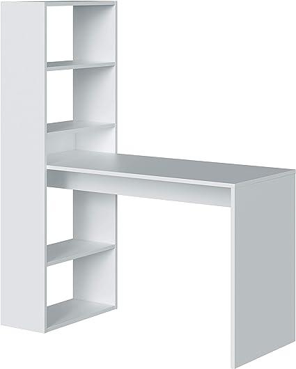 Habitdesign Mesa de Ordenador PC o Escritorio con Estanteria Reversible, Blanco Artik, Modelo Duplo, Medidas: 120 cm (Ancho) x 53 cm (Fondo) x 144 cm ...