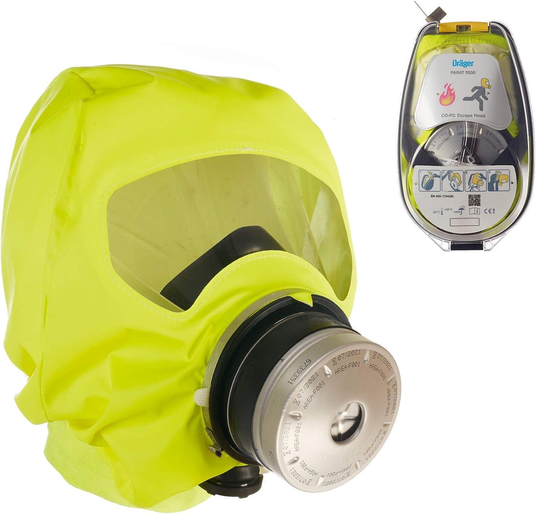 Dräger PARAT 5530 | Máscara de Escape respiratoria ergonómica con Filtro CO P2 | Protección Ante Gases de Incendio, vapores y combustión | Carcasa rígida