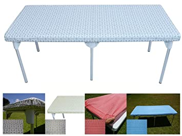 TopTableCloth Table Cover Silver Patterned Elastic On The Corner For Folding  Table 6ft (30u0026quot;