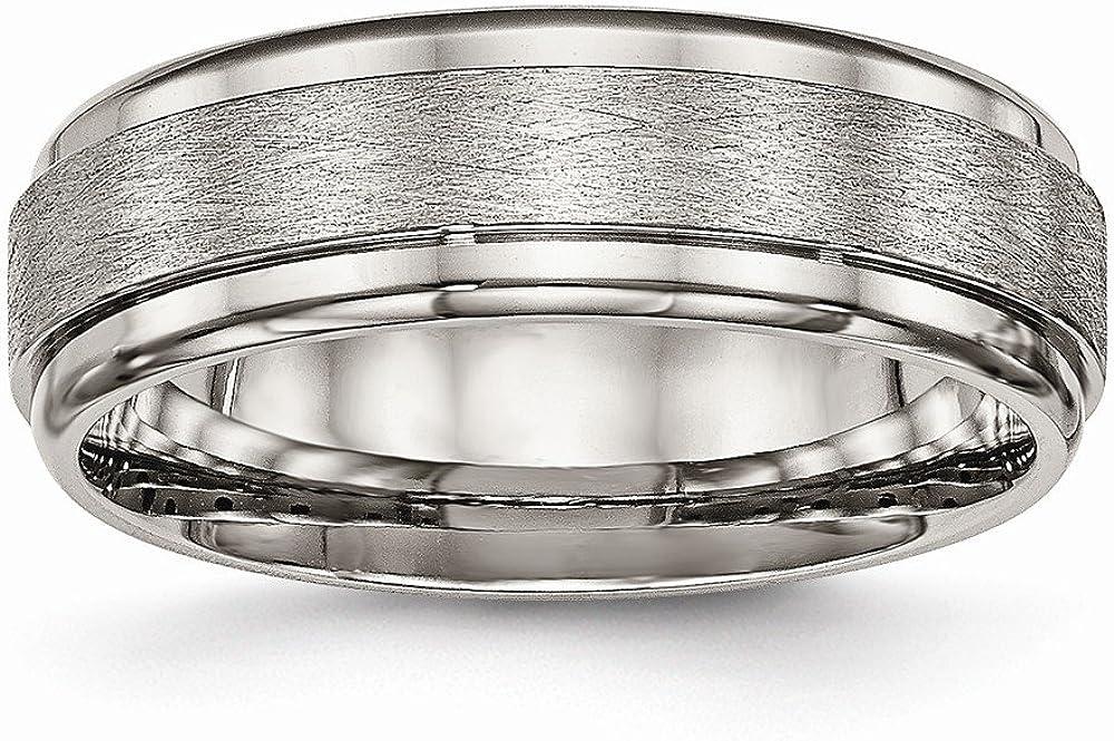 Bridal Wedding Bands Decorative Bands Titanium Brushed and Polished Ridged Edge Ring Size 7