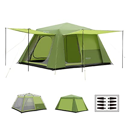 aa7ba8b27b Image Unavailable. Image not available for. Color: KingCamp CAMP KING 8-person  2-room Instant Camp Cabin Tent ...
