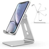 Adjustable Cell Phone Stand, OMOTON Aluminum Desktop Cellphone Stand with Anti-Slip Base and Convenient Charging Port…