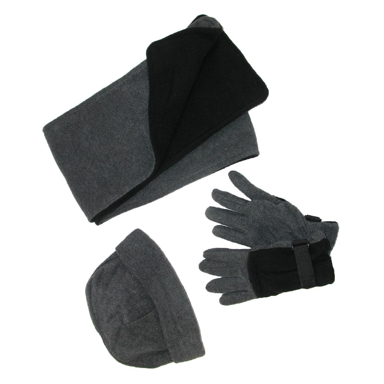 CTM® Men's Fleece Hat Gloves and Scarf Winter Set Black/Red RG-K2163-RED