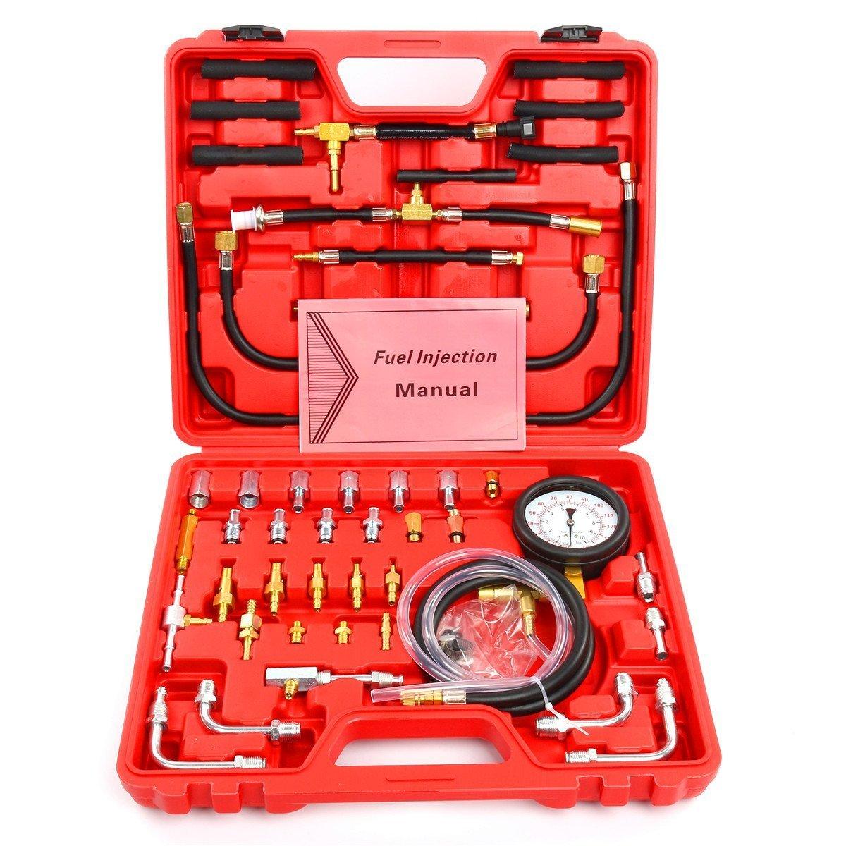 8MILELAKE Pro Oil Fuel Injection Pressure Tester Kit 0-140 PSI System by 8MILELAKE (Image #2)