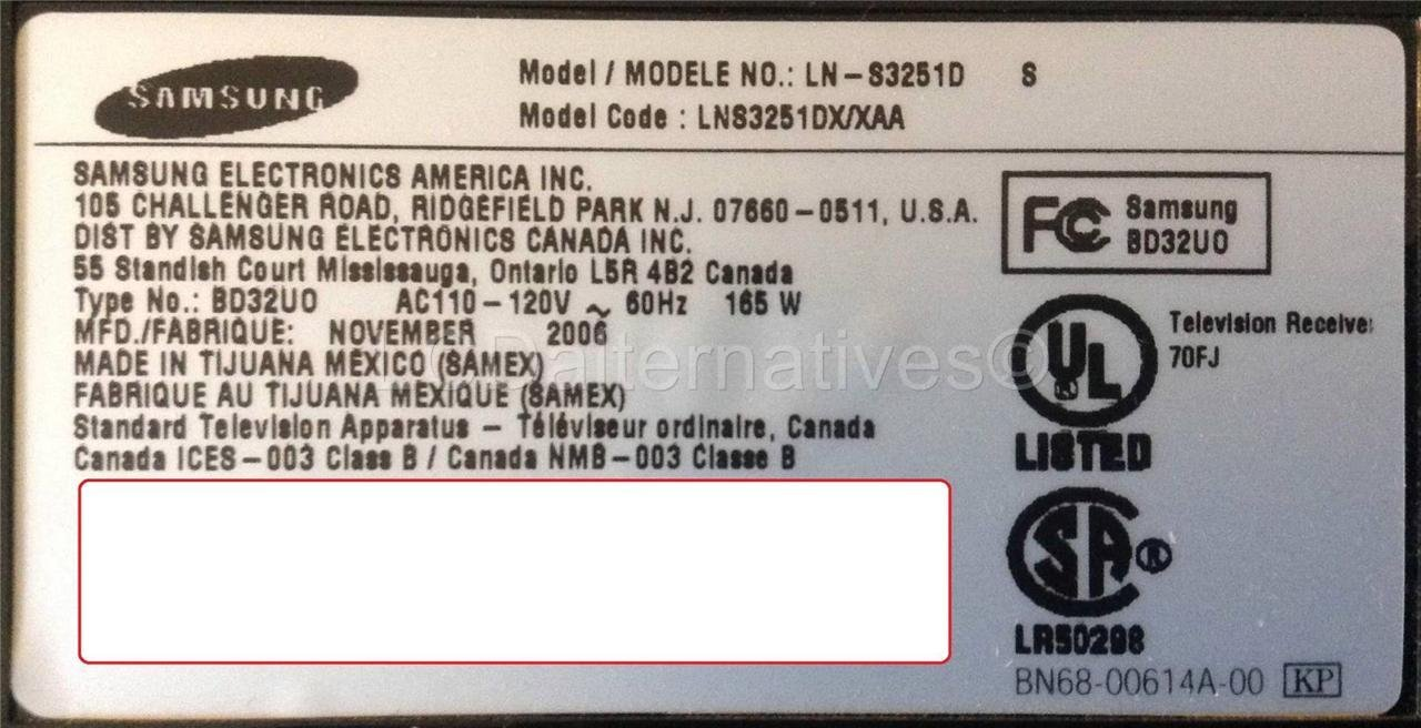 Samsung Ln S3251d Board Part Number Bn96 03775a Lcd Tv Replacement Bn 96 Power Supply Schematic Circuit Diagram Electro Capacitors Not Included Industrial Scientific