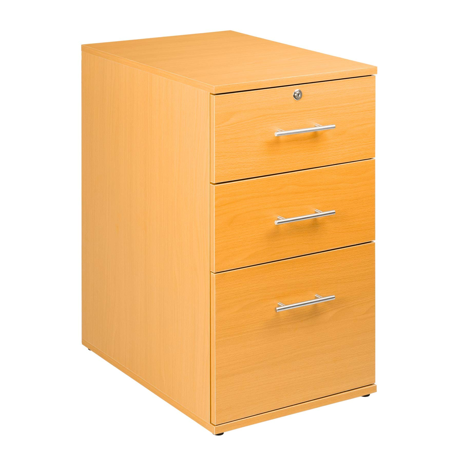 Office 3 Drawer Lockable Beech Desk Pedestal Unit A4 Suspension File Hangers in Bottom Drawer by MMT Furniture Designs Ltd