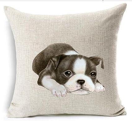 Amazon Cotton Linen Cute Funny Various Pet Dogs Human Friends Inspiration Boston Terrier Decorative Pillow