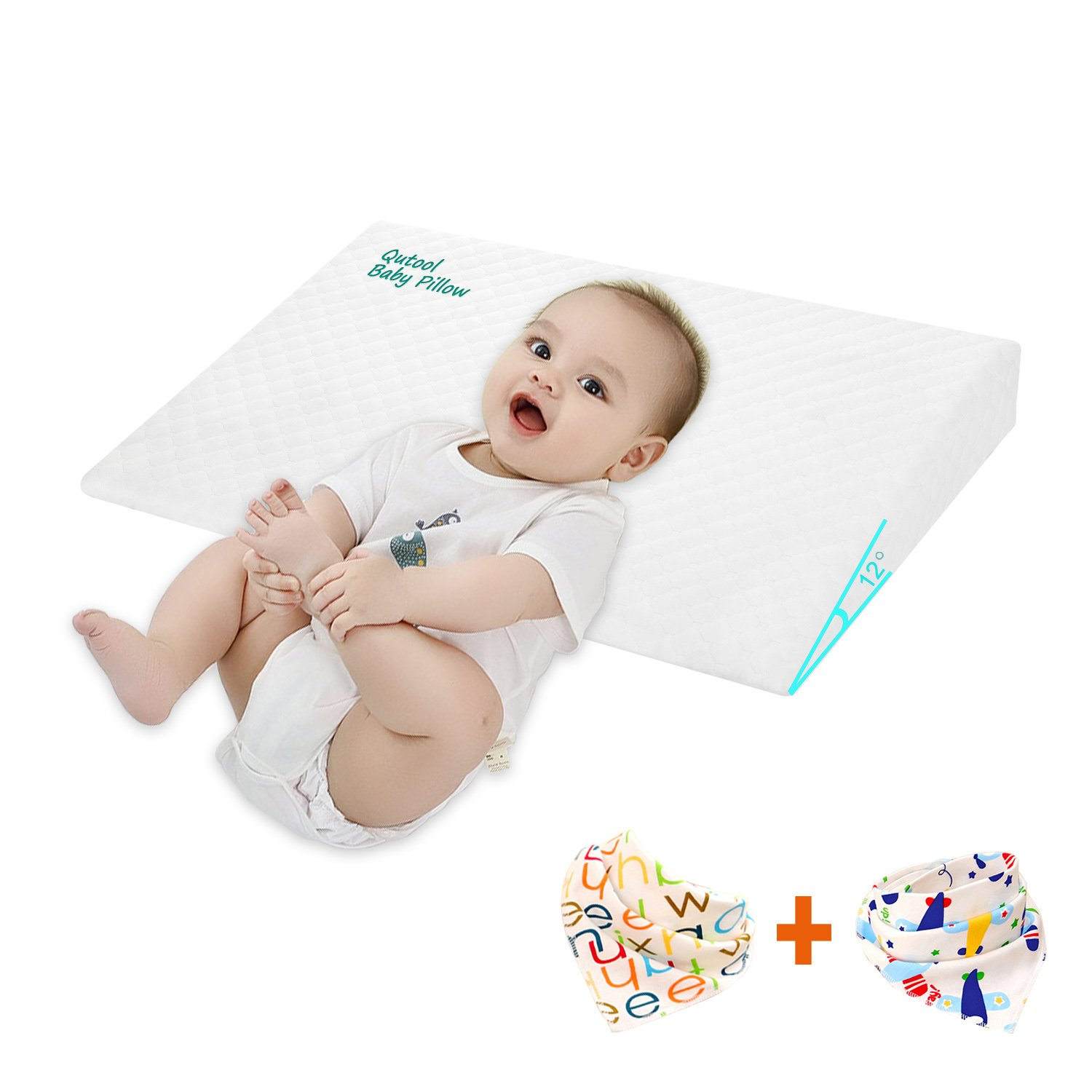 Universal Baby Crib Pillow for Baby Mattress Memory Foam Crib Wedge Infant Sleep Pillow Reflux and Nasal Congestion Reducer 12-Degree Incline for Better Night's Sleep by Qutool