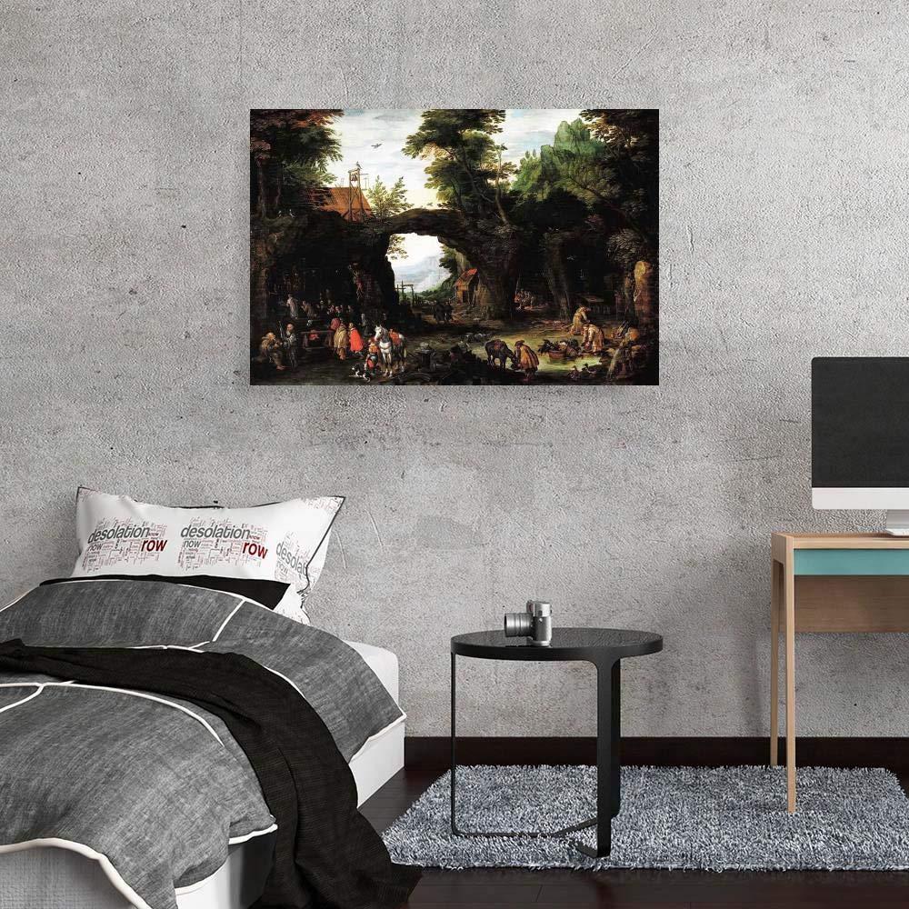 Dipinti Paesaggi Decorazione da Parete JH Lacrocon Jan Brueghel Il Vecchio Un Paesaggio Forestale Cacciatori Che Danno Caccia Cervo Riproduzioni Quadro Stampa su Tela Arrotolata 90X60 cm