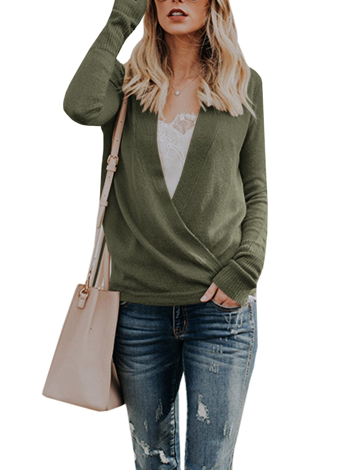 Sysea Womens Wrap Long Sleeve Knit Sweater Sexy Deep V Neck Pullover Cardigan Tops (Small, Army Green)