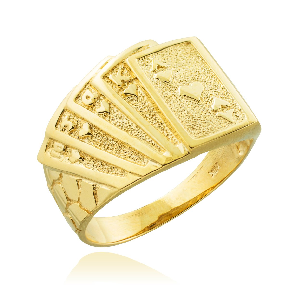 Men's 10k Yellow Gold Lucky Nugget Band Royal Flush of Hearts Poker Ring (Size 8)
