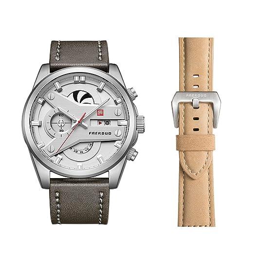 FAERDUO Relojes Hombre,Moda Casual Analógico Cuarzo Reloj Impermeable Deportes Cuero Fecha Reloj: Amazon.es: Relojes