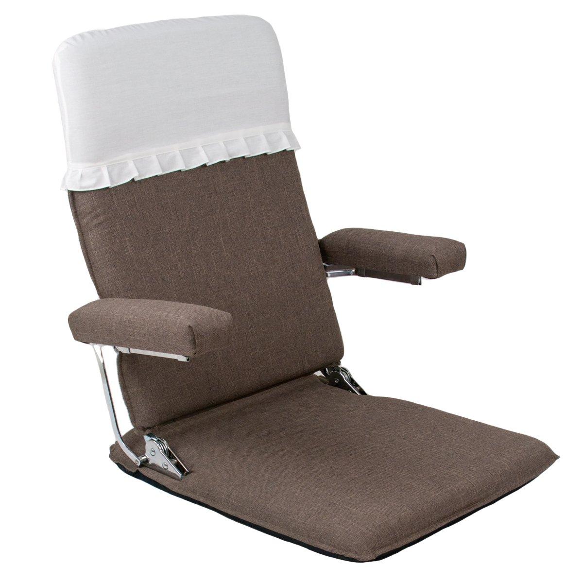 お座敷座椅子肘掛付ハイバック (カバー付) CBC313 ブラウン 腰痛 日本製 リクライニング 姿勢 人気 肘掛け 和座椅子 B078J3VGPB Parent ブラウン