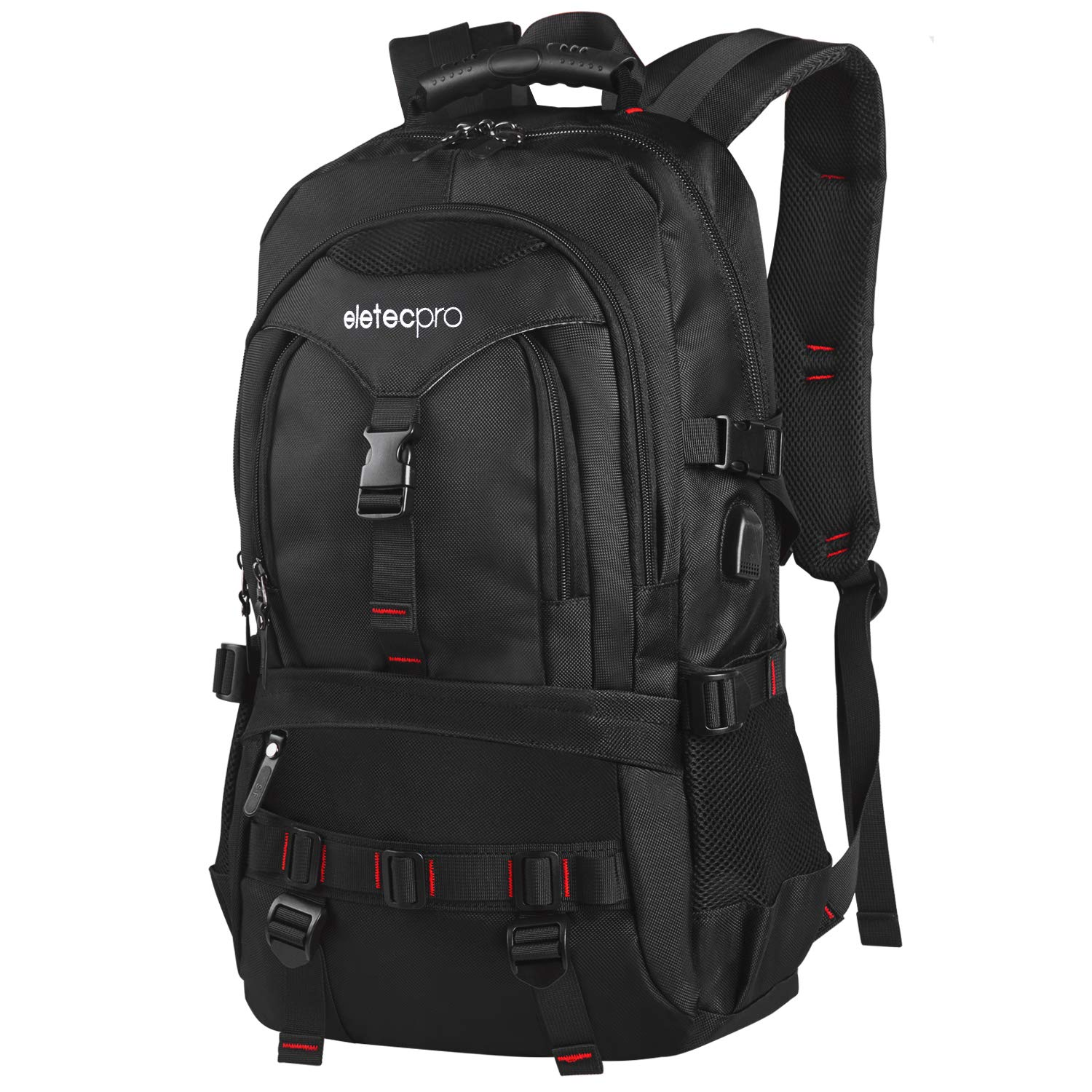 EletecPro Unisex 17.3 Inch Waterproof Laptop Backpack with USB Charging Port Durable Travel Backpack with Contains Multi Function Pockets for Women Men Black