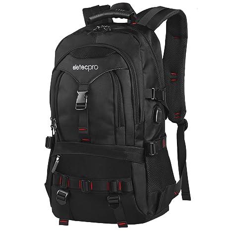 EletecPro Unisex 17.3 Inch Waterproof Laptop Backpack with USB Charging  Port d0750fb08d8da