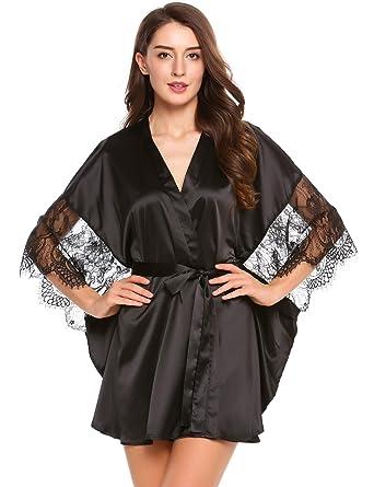849b555960 Avidlove Womens Satin Kimono Bathrobe Bat-Wing Robe Lace Patchwork Dressing  Gown Black