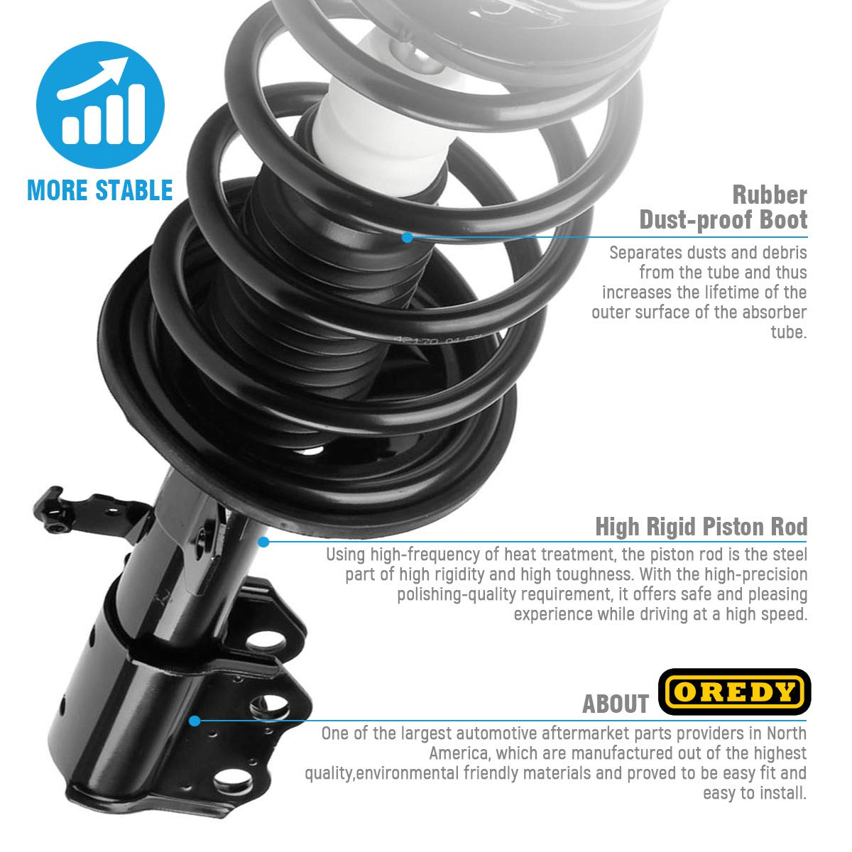 OREDY Front Pair Complete Struts Assembly Shock Coil Spring ...