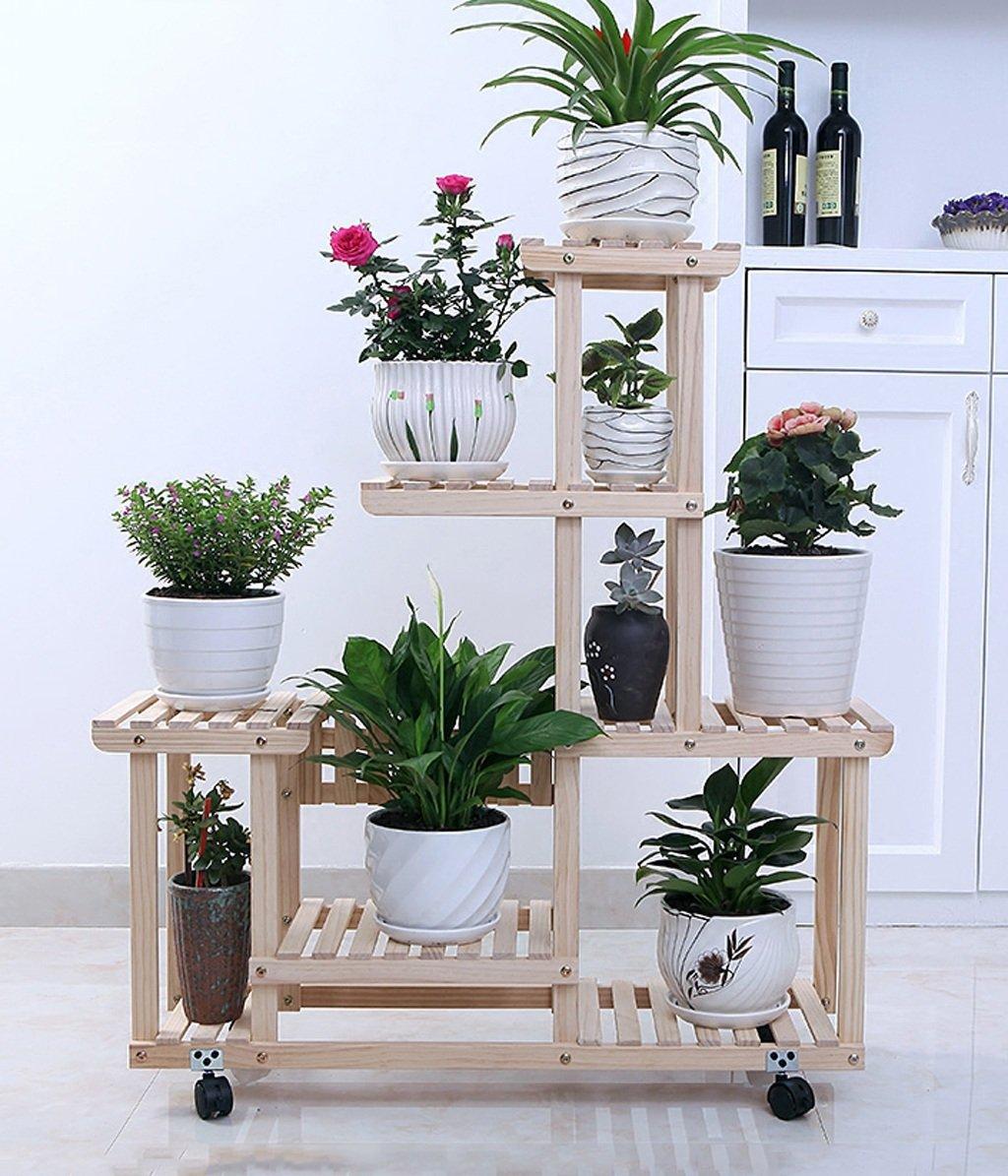 Amazon.com : ZENGAI Solid Wood Flower Racks Move The Pulley Indoor Assembly Pots Showcase, 2 Colors Plant Container (Color : 2#, Size : 852596cm) : Garden & ...