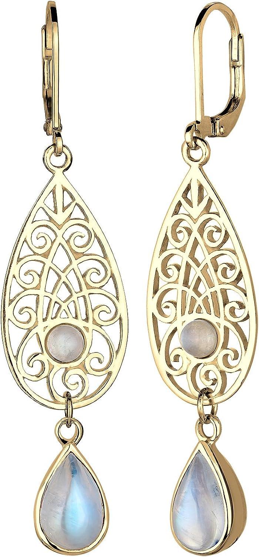 Elli pendientes piedras preciosas plata de ley 925 blanco y en forma de gota