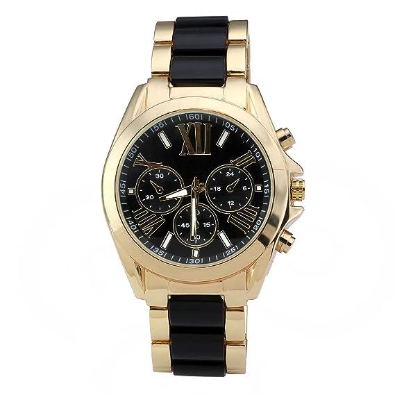 Relojes JSDDE, XL Oro Chrono Reloj de Pulsera para Hombre con cronógrafo Tres Centro de